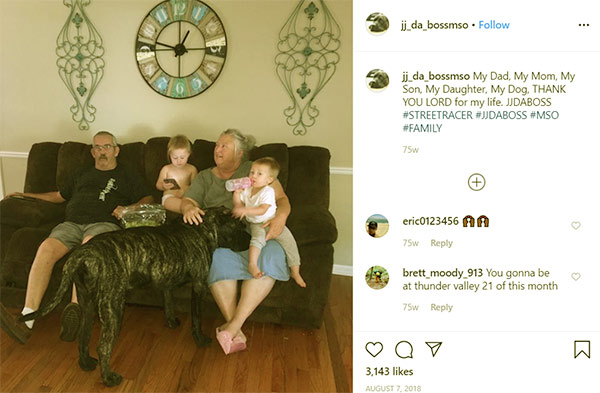 Image of Caption: JJ Da Boss shared a photo of his parents, kids, and dog on his Instagram