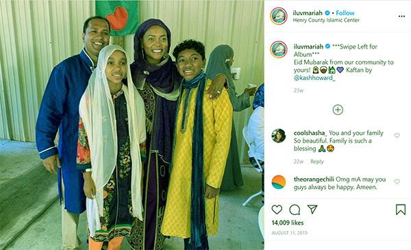 Image of Caption: Mariah Huq celebrating Eid with Husband and Children