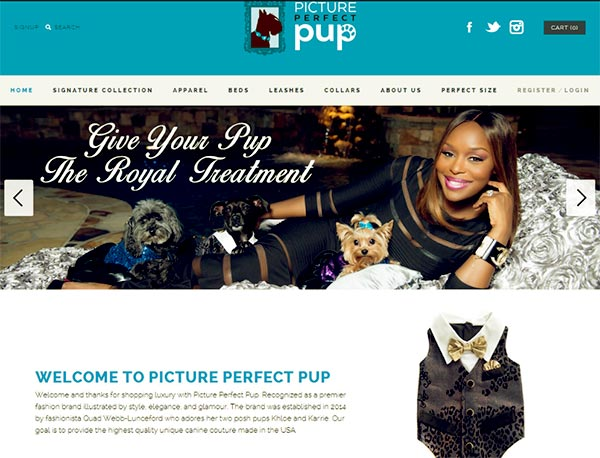 Image of Caption: Quad Webb launched a luxury clothing and accessory for dogs called Picture Perfect Pup
