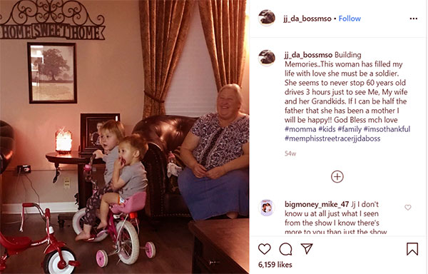 Image of Caption: JJ Da Boss posted a photo of his mom and two kids on Instagram