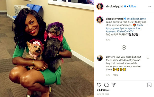 Image of Caption: Quad Webb has two posh dogs named Khloe and Kar'rie