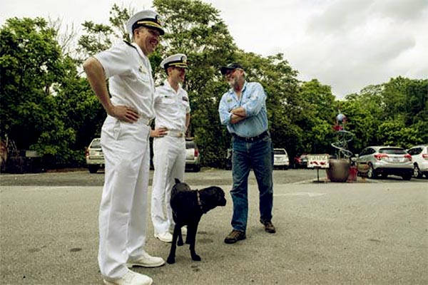 Image of Caption: Mike Whiteside with Cmdr. Burt Canfield and Cmdr. Morgan Murphy