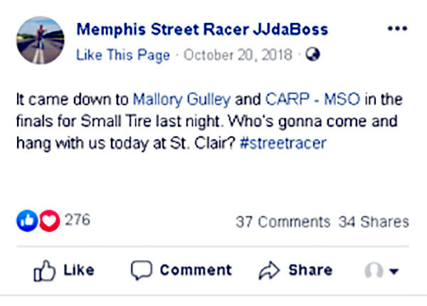 Image of Caption: Mallory won a race in the MSO finals against CARP in October 2018