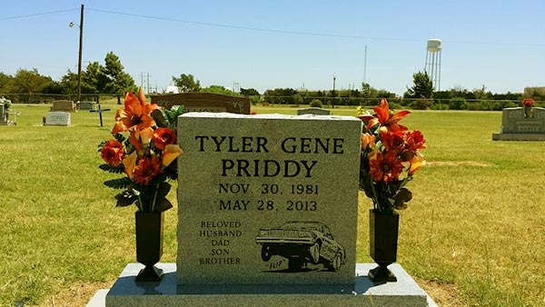 Image of Caption: Tyler's gravestone in Hinton Cemetery