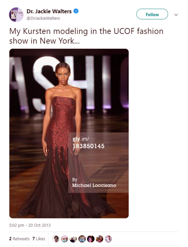 Image of Caption: Jackie shared of her daughter Kursten from an NYC fashion show