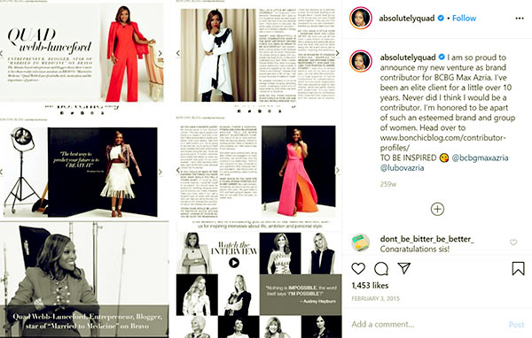 Image of Caption: Quad Webb announce her new venture as brand contributor for BCBG Max Azria