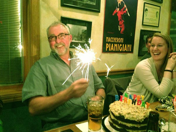 Image of Caption: Mike Whitestand celebrates birthday with his daughter Gracie