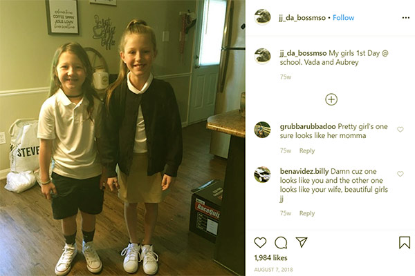 Image of Caption: JJ Da Boss daughter Vada and Aubrey first day of their school