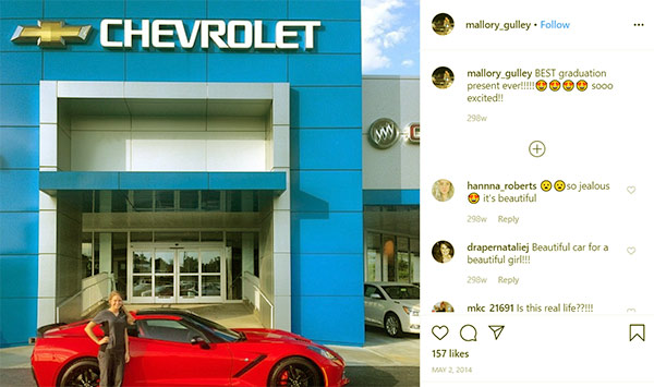 Image of Caption: Mallory and her Chevrolet Corvette ZO6