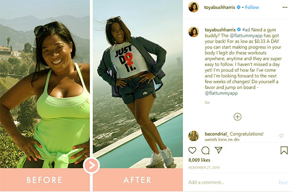 Image of Caption: Toya Bush-Harris weight loss before and after