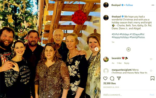 Image of Caption: Dr. Pol with his wife, children and family friends