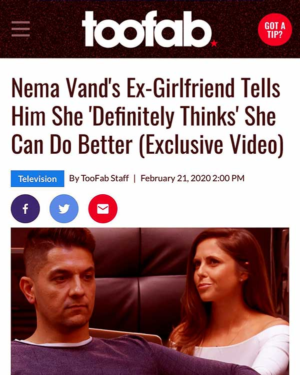 Image of Caption: Nema Vand and ex-girlfriend Erica Saunders talk about their relationship