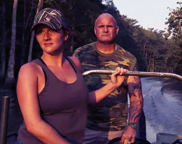 Image of Caption: Ashley Jones with fellow hunter, Ronnie Adams from Swamp People