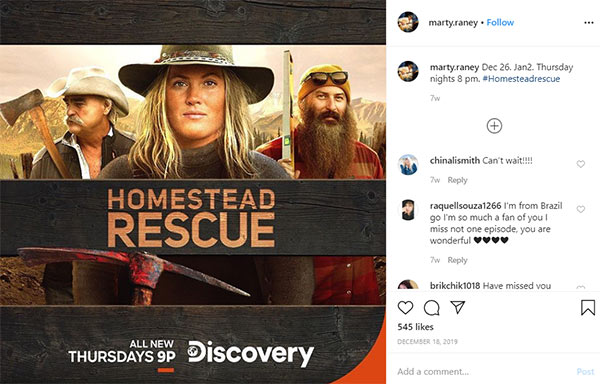 Image of Caption: Mart Raney promoting the 'Homestead Rescue' new season