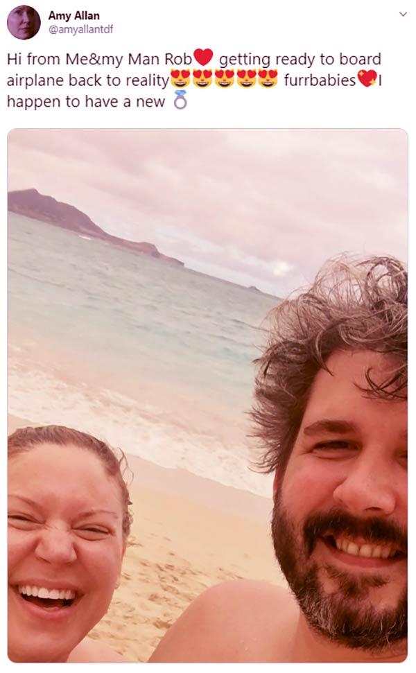 Image of Caption: Amy Allan got engaged to husband Rob Traeglar in 2017