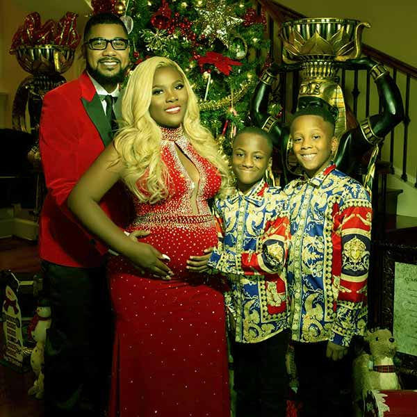 Image of Caption: Premadonna's pregnancy pics with husband and sons
