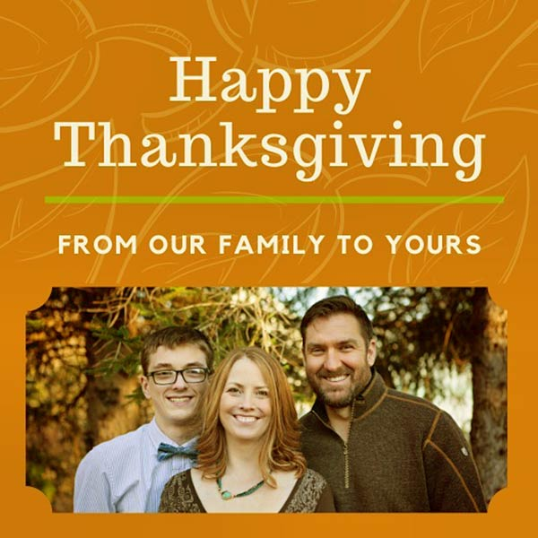 Image of Caption: Mark Bowe with his wife and son in their Thanksgiving card