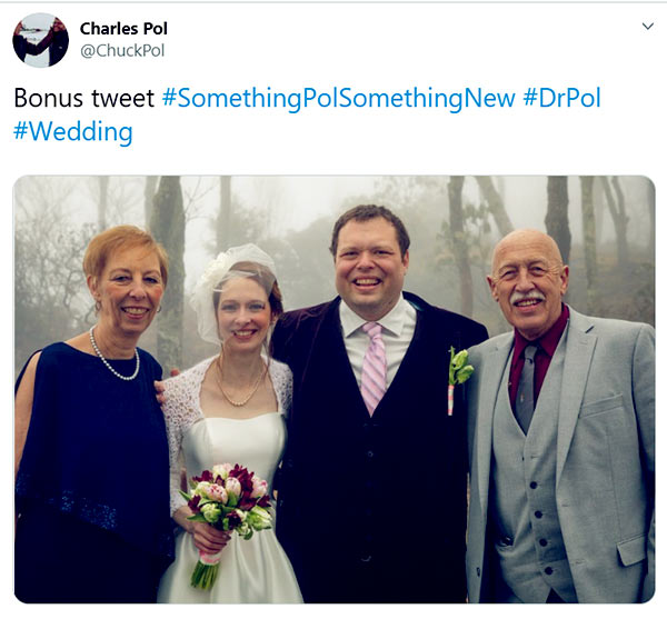 Image of Caption: Charles Pol with parents and wife in his wedding