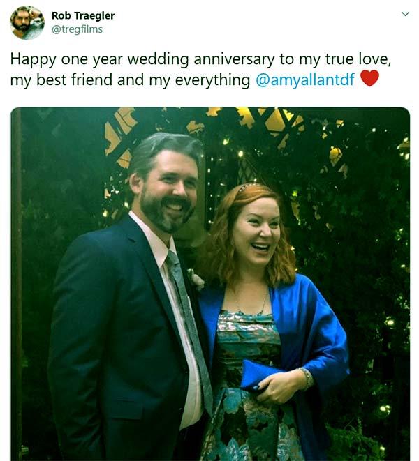Image of Caption: Amy Allan married husband Rob Traeglar in 2018