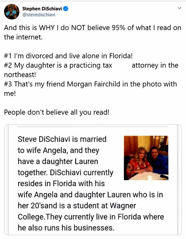 Image of Caption: Steve DiSchiavi in Twitter clarifying info on his wife, daughter, and married life