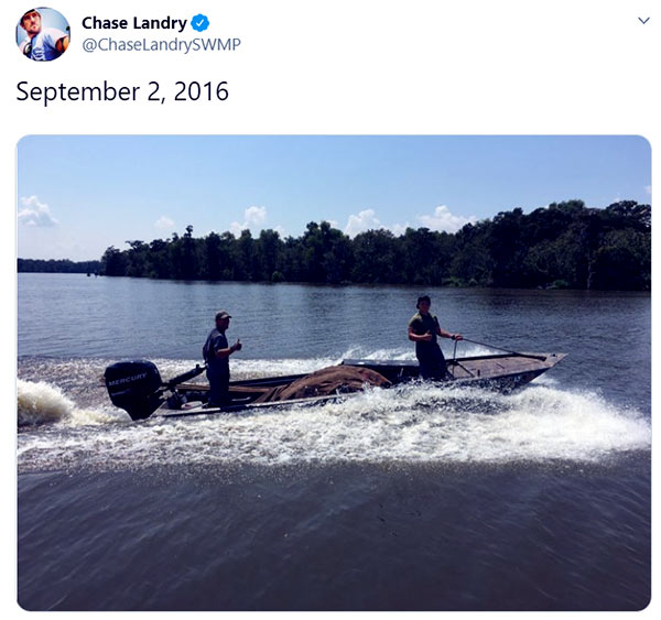 Image of Caption: Chase Landry out for a ride in the swamps.