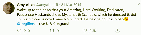 Image of Caption: Amy Allan's husband is an Emmy nominated director as well as a producer and editor