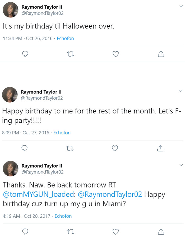 Image of Raymond Taylor is wished celebrated birthdays on October 26, 27 and 28