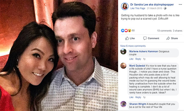 Image of Caption: Dr. Jeffery wife Dr. Sandra Lee shared their selfie on Facebook