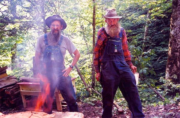 Image of Caption: JB Rader with his late best friend Popcorn Sutton