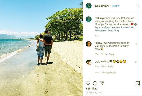 Image of Caption: Malia White celebrates the first anniversary in dating life
