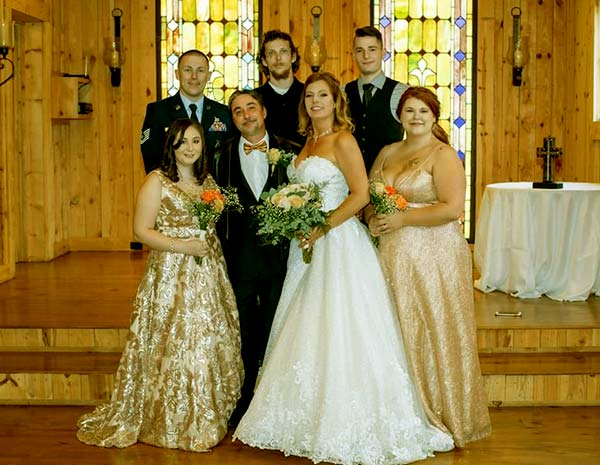 Image of Caption: Carol Ann Tickler's wedding with Steven Ray Tickler and their children