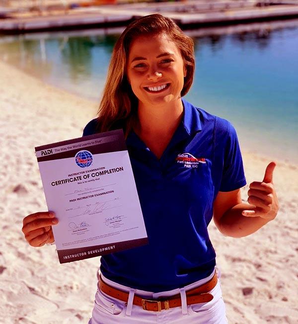 Image of Caption: Malia White is a scuba-instructor