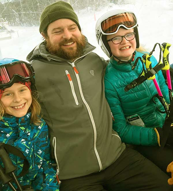Image of Chase Morrill with his youngest daughter, Eva and son Fletcher