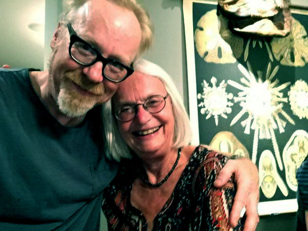 Image of Adam Savage's mother, Karen Savage is supporting son, Adam over daughter