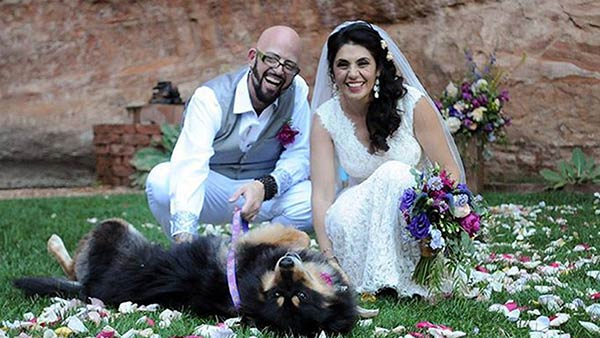 Image of Mino Rahbar's wedding with husband and dog, Mooshka